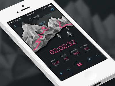 Trail Running  app running ui time pause trail pace distance elevation