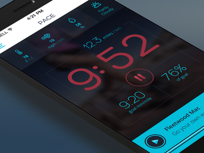 Running App - Pace iphone ui running pace time speed miles weather music buttons player