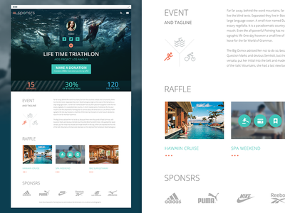 Sponsrs Event Page clean flat web ux ui icons triathlon button donate