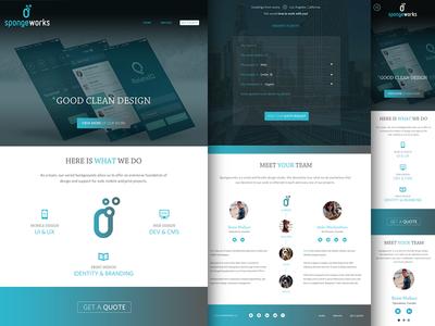 Spongeworks - New Website website ui ux button form flat clean icons profile