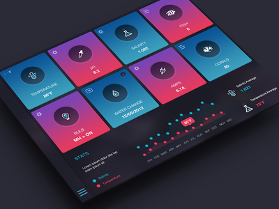 Saltwater Tank App Dashboard ios icons stats menu control center dashboard coral fish ipad ui ux