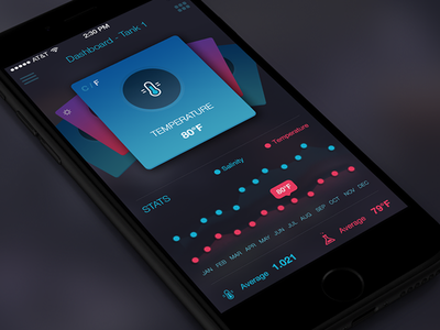 Saltwater Tank App Dashboard - iPhone ux ui iphone fish coral dashboard control center menu stats icons ios