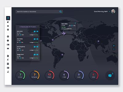 Business Travel Dashboard / Dark Mode travel tracker interface dark mode clean design map flight travel dashboard ui design ui