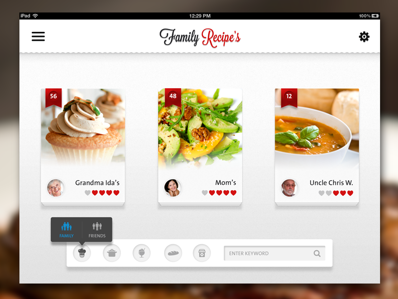 Recipe app ipad by anke mackenthun dribbble forumfinder Image collections