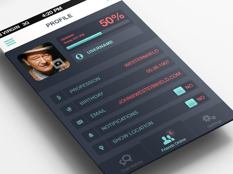 Profile Settings iPhone App buttons iphone profile tooltip ui design ios app