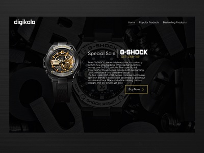 G-SHOCK Page Design casio ui digikala landing page landing watch clock g-shock