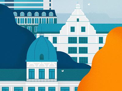 City px8 bird trees architecture helsinki city illustration buildings