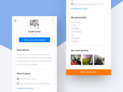 Roommate Profile room share rent blue orange minimal profile recent popular clean user interface roommate