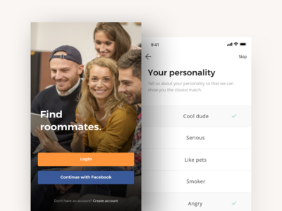 Choose your personality tags shot trending popular roommate ux ui clean selection personality