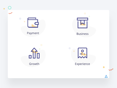 Icons exploration for a business portal illustrations icons store payment instamojo business and finance fintech blue and yellow purple blue experience growth business wallet
