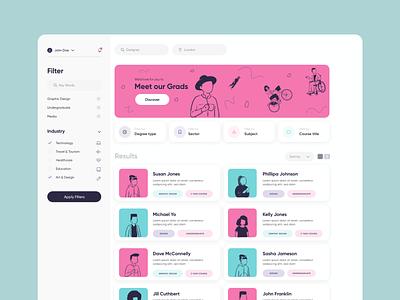 Alumni Dashboard education website education dashboad website tech web ux ui product design design