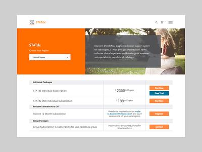 Elsevier STATdx Subscription Page dashboard ui cms development design cms website web tech ux ui product design