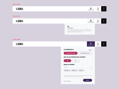 Personalisation Module Application - LSBU web website tech product design design ux ui