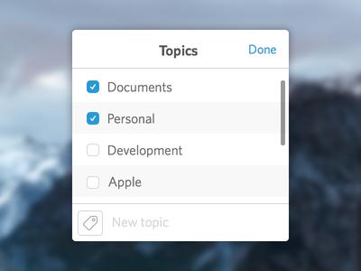 Topics window tag topic