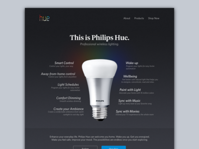 Philips Hue Landing website philips hue landing