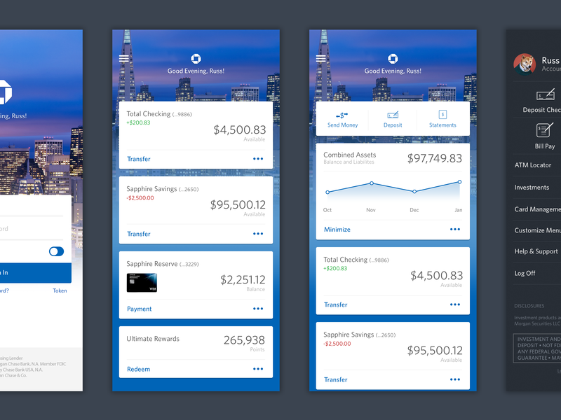 Chase money ui design mobile app financial bank chase