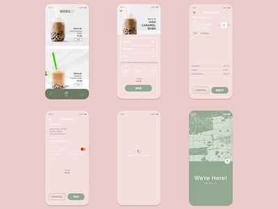 Boba Tea App app minimal branding uiux ui design ui ux