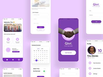 Givr 2.0 ios app design uiuxdesign uxdesign ui donation ui design uiux charity donation app charity app app design