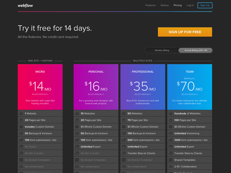 Webflow Pricing Page by Webflow on Dribbble