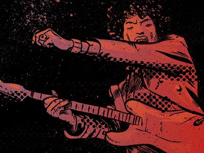 """scuse me while I kiss the sky"" purple haze hendrix ink illustration classic rock stratocaster guitar music jimi hendrix"