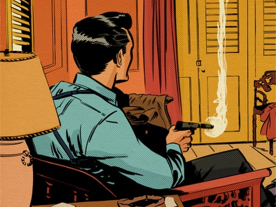 """That's a Smith and Wesson..."" kyle brush illustration bond sean connerey james bond retro vintage texture comic strip halftone dr.no"