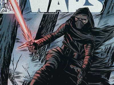 """I will finish what you started"" fanart half tone comicbook comics marvel vintage retro halftone the force awakens kylo ren illustration star wars"