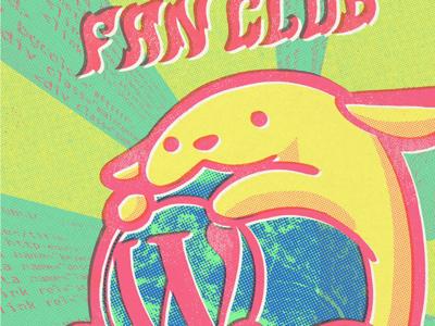 """Join the Wapuu fan club"" icon color halftone gig poster punk texture wapuu mascot wordpress web illustration poster"