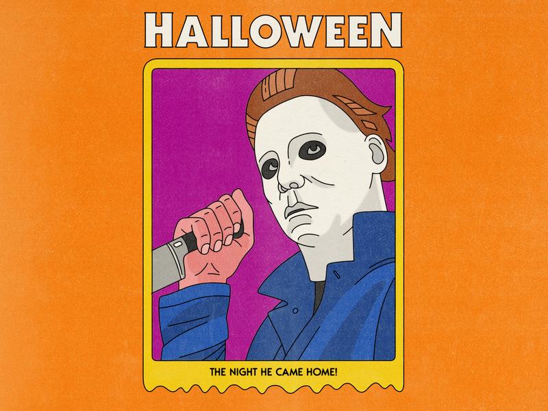 Halloween trading card editorial illustration movies editorial illustration michael myers horror movie horror halloween movie halloween