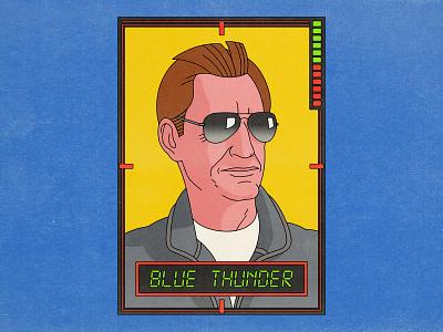 Blue Thunder movies pop art design texture halftone editorial illustration editorial illustration blue thunder