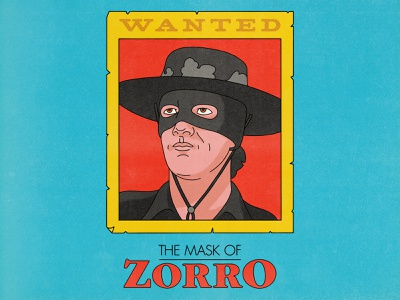 The Mask of Zorro typography pop art movies design texture halftone editorial illustration editorial illustration