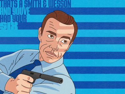 Dr.No Illustration halftone illustrations sean connery 007 bond james bond spot illustration 60s pop art movies editorial illustration illustration illustrator