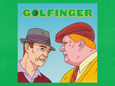 Golfinger goldfinger bond james bond golf retro typography movies pop art design texture halftone editorial illustration editorial illustration