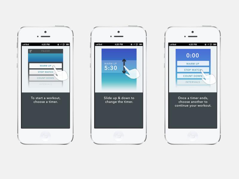 Pacer iOS App - Intro Tutorial tutorial intro coach walkthrough ios app pacer