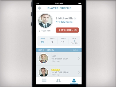 iPhone App Concept - Player Profile