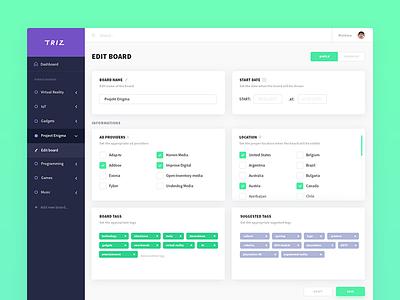 TRIZ - edit board flat edit tags board sidebar data app web ux ui dashboard