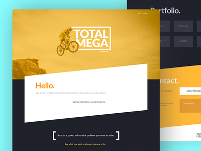TotalMega - Landing Page Design ui design contrast yellow total typography bold colors page landing