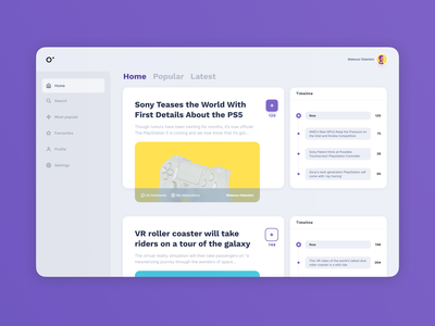 Observy - the simplest way to stay up to date sony layout timeline comments figmadesign figma article gray reddit sidebar page web typography ux ui