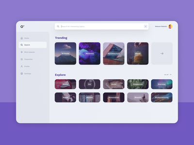 Search view figmadesign gray sidebar reddit portal technology hashtags thumbnails search view search layout web ux ui