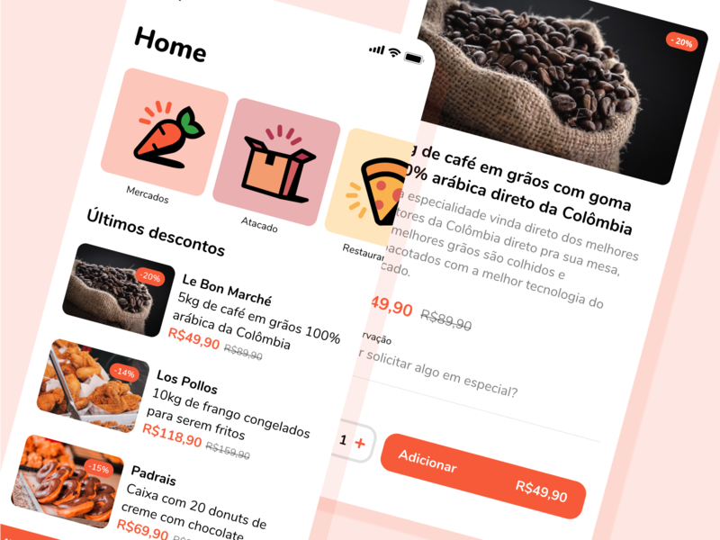 Buyapp Home mockup orange app design ui mobile