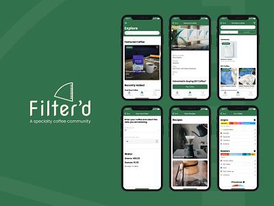 Filter'd | A specialty coffee community design logo brand ux ui nocode app social coffee