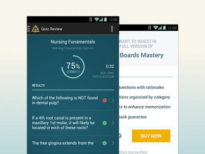 Android Results android design ux stats chart upgrade button list table icons