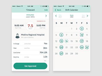 Where Were You ios ux calendar timecard ui mobile app health user interface