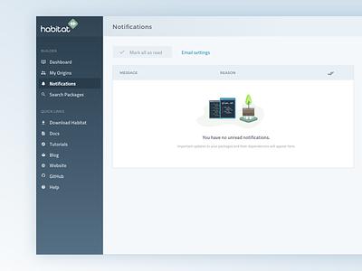 Habitat Notifications - Empty State product design web app empty state ui design user interface web app design ui ux
