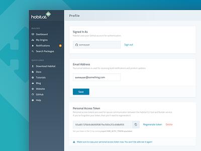 Habitat Profile product design ui design user interface profile layout web app design website ui ux