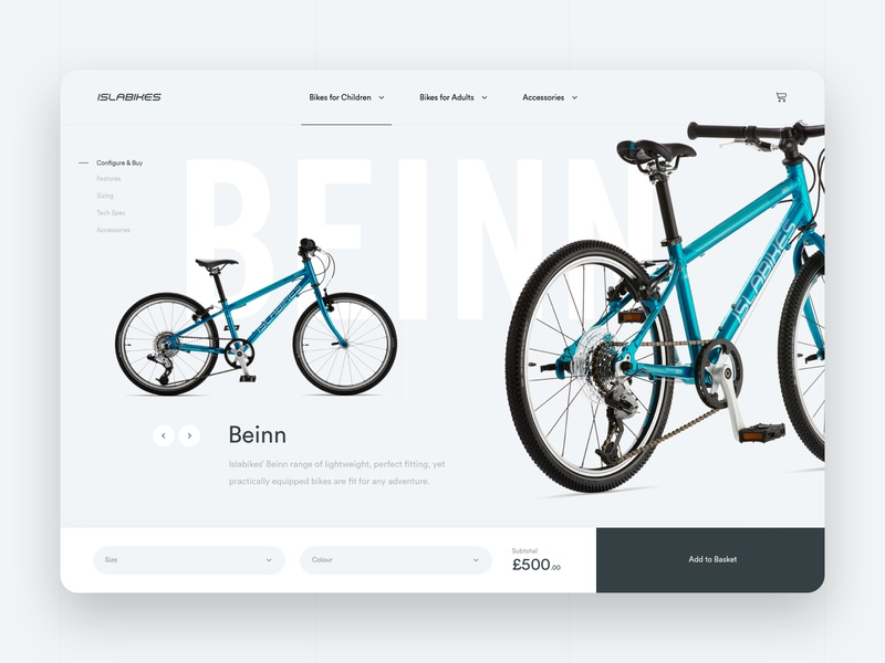 Product Page Concept web design bike concept shop product pdp product page ecommerce ui design design work in progress creative  design sketch app website ux agency web ui
