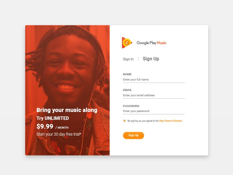 Play Music Sign Up by Svet Nikolov | Dribbble | Dribbble