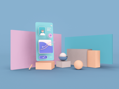Three-dimensional UI illustration