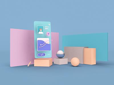 Three-dimensional UI illustration dimensions ux geometric 3dui flat clean illustration webdesign 3d ui