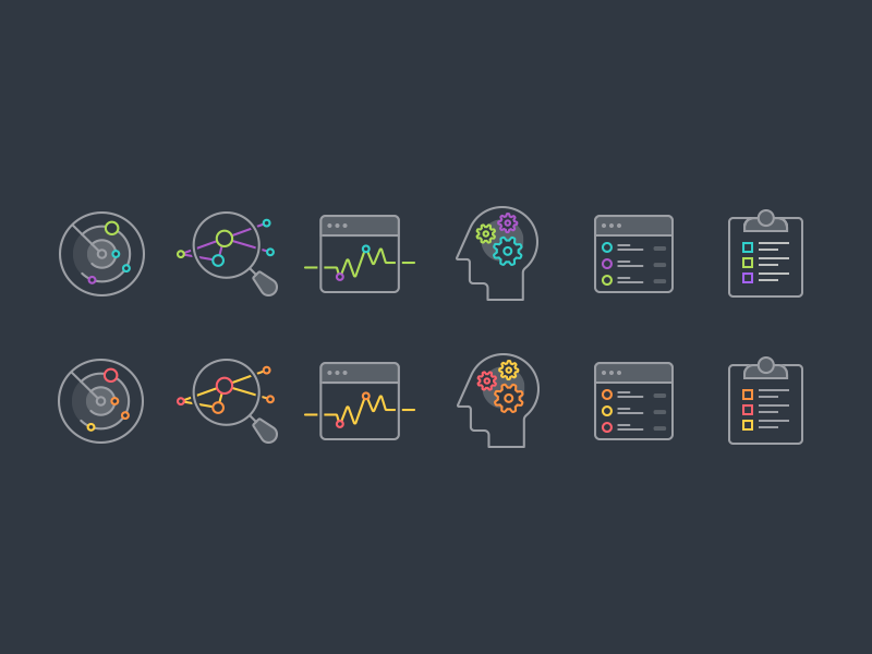 Icon Set security illustrations icons warm cool