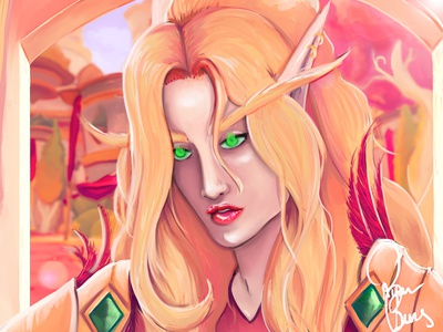 Blood Elf Paladin in Silvermoon portait fantasy adobe photoshop artist paladin wow warcraft blood elf commision fanart illustration